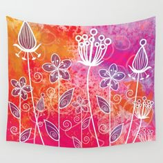 Watercolor Flowers 2 Wall Tapestry