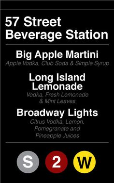New York themed party beverage menu- drinks for a Tony Awards watching party?