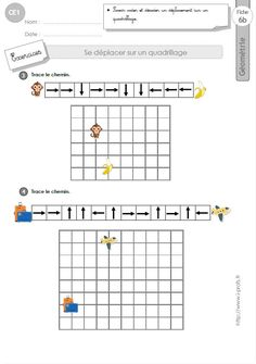 Déplacer sur un Quadrillage in Maze Puzzles, Cycle 2, Brain Gym, Coding For Kids, Disaster Preparedness, Golden Rule, Educational Activities, Math Lessons, Worksheets