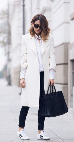A minimal office look: Classic white shirt, structured neutral coat, and comfortable sneakers. So gorgeous!