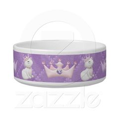 Cat Princess  We all know that Cats rule our homes, why not show it on your kitties food bowl with this beautiful design! Featuring a quilted look background in a pale purple and a repeating pattern of a regal white cat wearing a jeweled crown alternating with pink and purple jeweled crowns. ******Please note that this is a highly detailed flat graphic design, there are no actual jewels.********