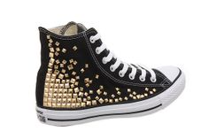 Studded Converse, Converse High Top with Gold Pyramid studs by CUSTOMDUO on ETSY