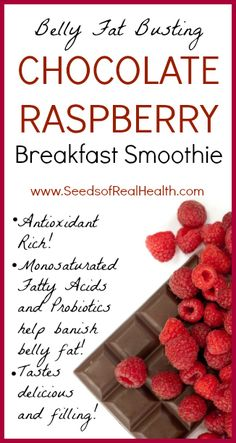 Chocolate Raspberry Breakfast Smoothie that is great for digestive health and banishing unwanted belly fat!  www.SeedsofRealHealth.com