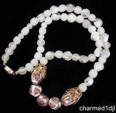 """VTG CZECH Purple White Foil Art Glass Bead Necklace 20""""L Signed Czechoslovakia #Czech #StrandString SOLD"""