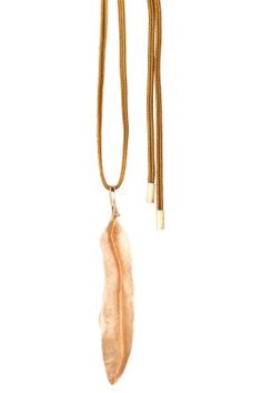 Ole Lynggaard Copenhagen - Midnight Leaf Pendant in Rose Gold with Camel String Necklace