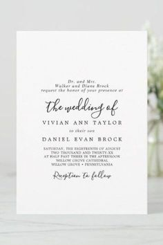 Minimal Traditional Grooms Parents Hosting Wedding Invite. Click to customize with your personalized details today. Rustic Invitations, Invitation Design, Invite, Beautiful Wedding Invitations, Wedding Invitation Sets, Simple Weddings, Romantic Weddings, Minimal Traditional, Wedding Calligraphy