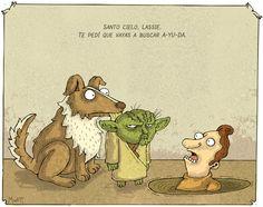 Santo cielo, Lassie. Te pedí que vayas a pedir A-YU-DA. (tags: help, star wars, easy)