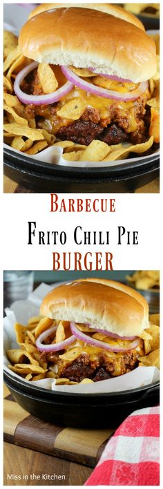 Barbecue Frito Chili Pie Burgers Recipe for #BurgerMonth by #GirlCarnivore from MissintheKitchen.com