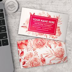 Awesome business card template Red Watercolor Flowers - Fully layered PSD - Fully Editable
