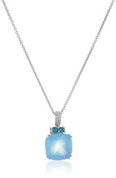 """Sterling Silver Blue Chalcedony Cushion Cut with London Blue Topaz and Created White Sapphire Fashion Pendant Necklace, 18"""". Imported."""