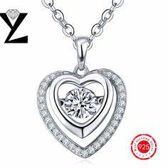Romantic Love 925 Sterling Silver Heart Pendant AAA Crystal Dancing CZ Diamond Necklace Metal Jewelry for Women Girlfriend Gift