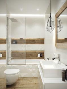 petite salle de bain moderne bois blanc #bain #moderne #bathroom