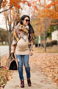 cute & little blog | petite fashion | maternity baby bump pregnant | shades of fall outfit | zara plaid checked blanket scarf, mustard cardigan, distressed jeans, burgundy ankle booties, clare v sandrine leopard bag | third trimester 31 weeks