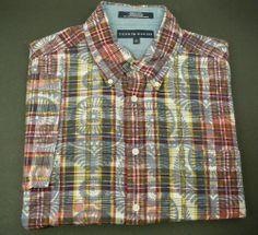 TOMMY HILFIGER Vintage shirt L Free Shipping blue red print/ plaid short sleeve  #TommyHilfiger #ButtonFront