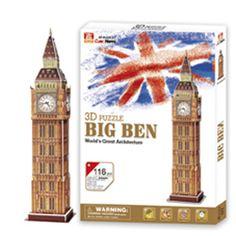 PUZZLE 3D CUBICFUN BIG BEN  Pezzatura puzzle: 30 pz Dimensioni montato: 9 X 9 X 38,5 cm