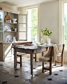 country kitchen dining room with gorgeous oversize tile, farmhouse table and hutch Farmhouse Style Kitchen, Country Kitchen, Kitchen Dining, Kitchen Decor, Farmhouse Table, Farmhouse Decor, Rustic Kitchen, Country Living, Dining Rooms