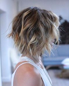 Messy Short Haircut - Balayage Bob Hairstyles for Thick Hair