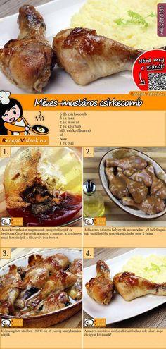 Mézes-mustáros csirkecomb - #csirkecomb #Mézesmustáros Easy Casserole Dishes, Good Food, Yummy Food, Hungarian Recipes, Cooking Recipes, Healthy Recipes, Light Recipes, Food To Make, Chicken Recipes