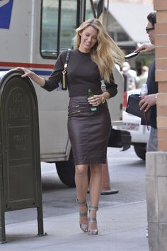 Blake Lively. Crop top and leather pencil skirt!