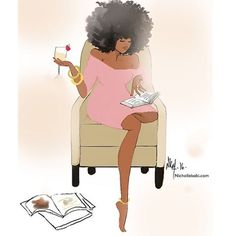 """67 Likes, 1 Comments - Urban Bookish (@ubookish) on Instagram: """"A good book, and some good wine, makes for a good night. Artwork by @nichollekobi #reading #books…"""""""