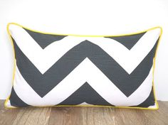 Gray pillow cover 21x11 modern home decor, geometric couch pillow case, grey and yellow lumbar cover, chevron cushion piping gift for her
