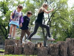 Nature playground lets kids be kids ~   Lord Selkirk School in Winnipeg in Canada.  The school has built a nature inspired playground that enables kids to jump and play in a way that enables them to use their imaginations more than structured and safe play equipment does.  Part of their new landscape includes a rocky hillside, and  tree stumps.