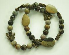 #Brown Artistic #Gemstone Beaded #bracelet Set / Stretch bracelet / Handmade bracelet / Stacking bracelet #handmade #thecraftstar $15.00