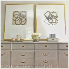 Rosa Beltran Design {Blog}  BEDROOM BY ROSA BELTRAN DESIGN LOS ANGELES diy wall art tutorial modern abstract painted painting squares circles peter dunham hollywood at home benjamin moore eagle rock brass gold z gallerie snakeskin champagne box white peonies large mat inspiration