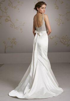 Ivory silk faced satin trumpet bridal gown, sheer jewel encrusted bodice, crystal silk ribbon belt at natural waist, on the shoulder sweetheart neckline, trumpet skirt, chapel train.