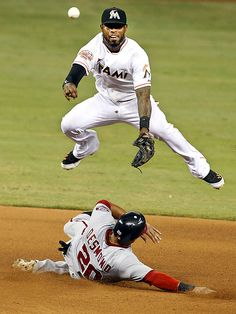 Turning Two - Washington Nationals' Ian Desmond is out at second as Miami Marlins shortstop Jose Reyes throws to first to complete the double play in the seventh inning of their game in Miami. Funny Basketball Pictures, Baseball Pictures, Basketball Funny, Funny Sports Quotes, Sports Humor, Jose Reyes, Double Play, Baseball Boys, Miami Marlins