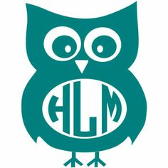Owl Monogram Decal with Circle Font - Multiple Colors