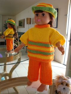 """Ladyfingers - AG doll - Long Pants with Crease and Easy """"Boxy"""" Sweater Knitting Dolls Clothes, Yarn Dolls, Ag Doll Clothes, Crochet Doll Clothes, Knitted Dolls, Doll Clothes Patterns, Doll Patterns, Knitting Patterns, Crochet Patterns"""