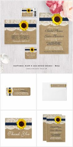 Sunflowers Burlap & Lace WEDDING SET COLLECTION Country Rustic Chic Pretty Personalized Navy Blue Ribbon & Sunflower Invites Announcements Invitations Postage Stamps Labels Stickers Thank You RSVP Cards & More!
