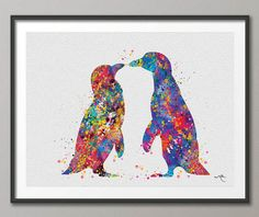 Hey, I found this really awesome Etsy listing at https://www.etsy.com/listing/226723571/penguin-watercolor-art-print-wedding