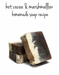 Homemade Cocoa and Marshmallow Mint Soap Recipe - Formulated using easily attainable soapmaking oils this hot cocoa soap recipe will remind you of cold winter days cuddled on the couch with a cup of hot cocoa! Plus these homemade soaps make fantastic homemade Christmas gifts and DIY stocking stuffers.