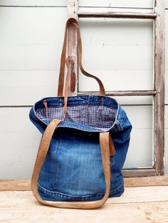Denim Bags From Jeans, Denim Tote Bags, Levis Jeans, Leather Label, Brown Leather Belt, Leather Handle, Bingo Quotes, Japanese Knot Bag, Boho Clothing