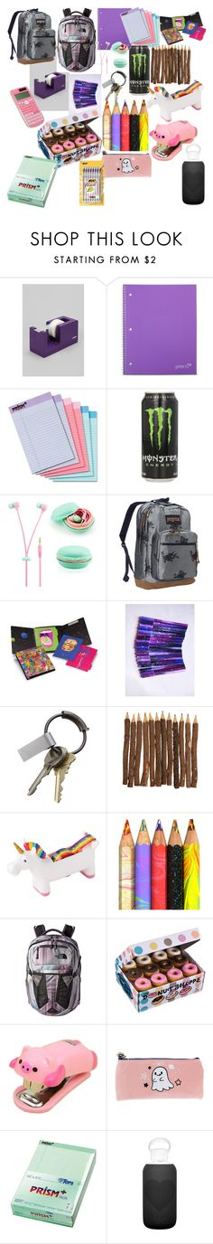 """Schoolio"" by gothobbit ❤ liked on Polyvore featuring interior, interiors, interior design, home, home decor, interior decorating, poppin., Yoobi, JanSport and Plumb Notebooks"