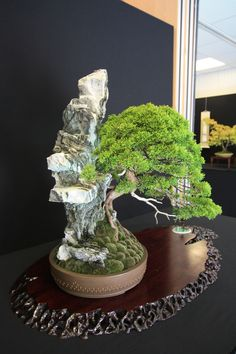 It is great to see that the stands used in Bonsai shows are of a good quality and design, as this adds to the overall bonsai display – it is an important feature of the overall image. Bonsai Forest, Bonsai Art, Bonsai Garden, Japanese Culture, Japanese Art, Juniper Bonsai, Plantas Bonsai, Miniature Trees, Oriental
