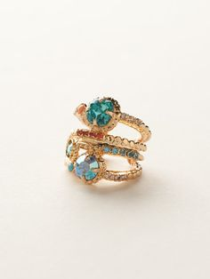 Stacked Crystal Ring in Caribbean Coral by Sorrelli - $80.00 (http://www.sorrelli.com/products/RCG18BGCCO)