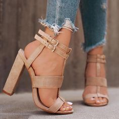 Anklet Strap Buckle Peep Toe High Heeled Sandals