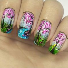 August 3: Impressionist Landscape Nail Art by @starrynail; see the full nail art gallery at…