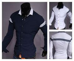 Camisa Fashion Casual com Detalhes Listrados e em Contraste