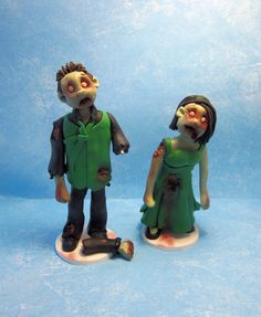 Zombie Cake Toppers/ Figurines by KadoodlesCreation on Etsy, $40.00