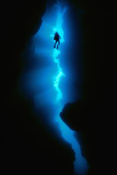 Underwater cave diving. via Crazy net