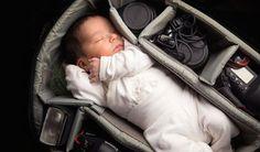 After his son Claudio was born, photographer Alessandro Della Bella shot an adorable portrait of the newborn sleeping in his camera bag's main compartment.