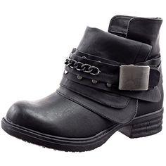 Sopily - Chaussure Mode Bottine Cavalier Motard Cheville femmes Chaïnes boucle Talon bloc 3 CM - Intérieur fourrure synthétique - fourrée - UK 5 - Noir - FRF-3309-2 T 38