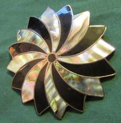 Vintage Mexico City Sterling Silver Brooch Pendant Abalone & Onyx Eagle Mark #Mexican