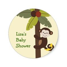 Curly Tails Monkey Envelope Seals Stickers
