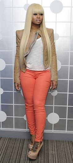 Blac Chyna in peach colored #skinnyjeans.