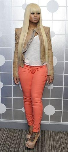 Blac Chyna in peach colored #skinnyjeans.